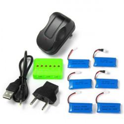 X6A 500mAh Batteri med Laddare för Hubsan H107L H107C H107D H108 H108C