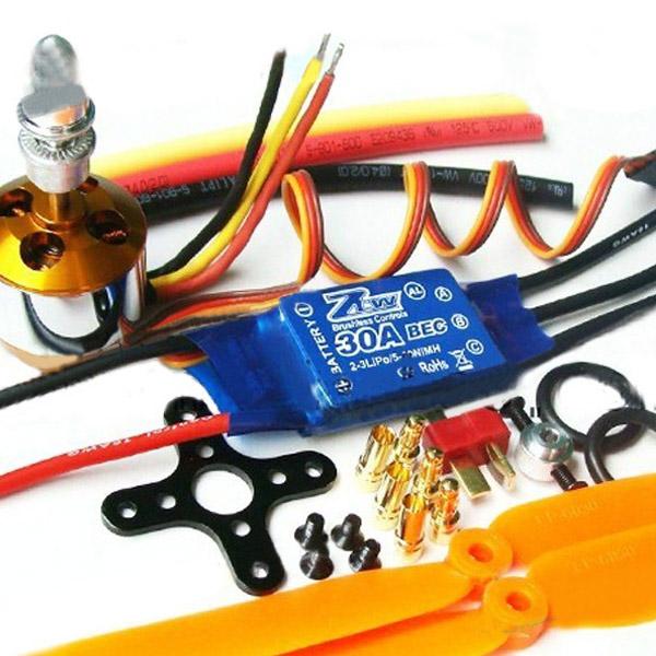 XXD 2212 Motor + ZTW AL30A Borstlös ESC + 1045 Propeller Radiostyrt