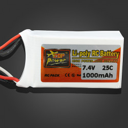 ZOP Power 7.4V 1000mAh 25C Lipo Battery JST Plug