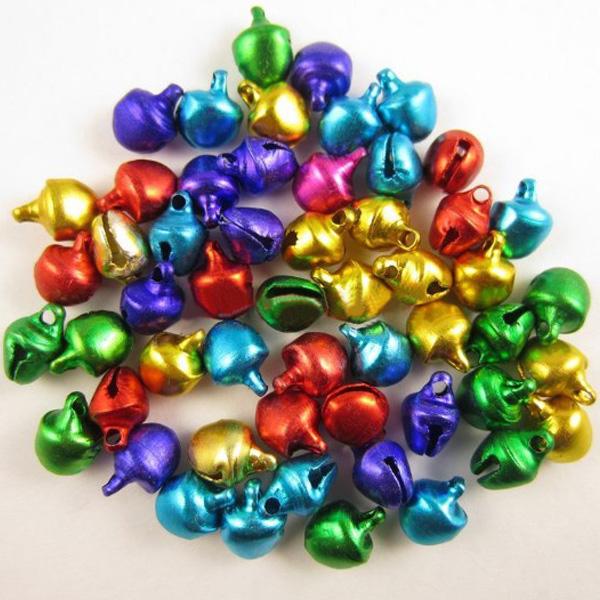 100 Pcs Mixed Color Iron Christmas Jingle Bells 8x6mm