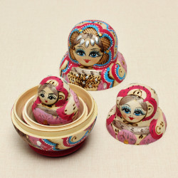 10Pcs Matryoshka Russian Doll Wooden Nesting Toys Colorful Kids DIY Gift