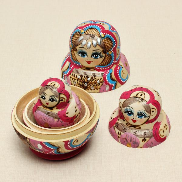 10st Matryoshka Rysk Docka Trä Häckande Leksaker Färgglada Barn DIY Dockor & Gosedjur