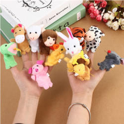 12x Familie Finger Puppets Cloth Doll Baby Educational Hand Legetøj