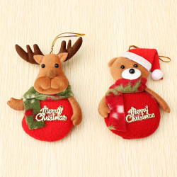 2PCS Christmas Beer Elk Pattern Pedant Ornament Kids Gift