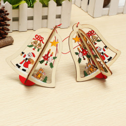 2ST Weihnachtsdekoration Charm Holz Glocke Weihnachtsbaum Zubehör