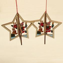 2stk Jul Wood Femtakket Stjerne Juletræ Tilbehør
