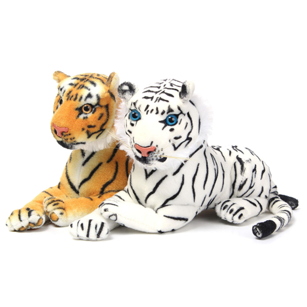 30cm Gul Vit Artificiell Tiger Animal Mjuk Kelig Dockor & Gosedjur