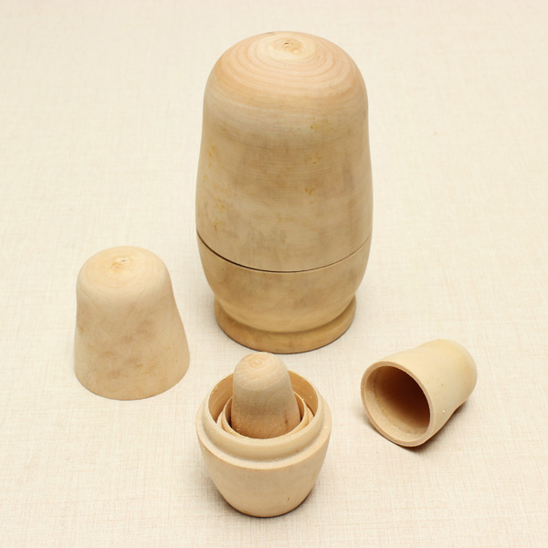 5stk / Set Matrjoschka russische Puppe Unlackierte Modell Kind DIY Geschenk Holzspielzeug Puppen & Kuscheltiere