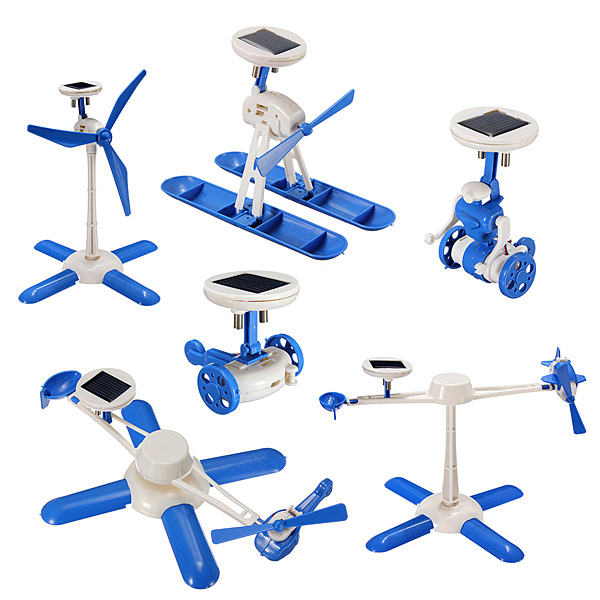 6 IN 1 Solar Toy DIY Robots Plane Educational Kid Gift Creative Solar Powered Toys