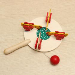 Kyckling Äta Rice Hantverk Träleksaker Nostalgiska Leksaker