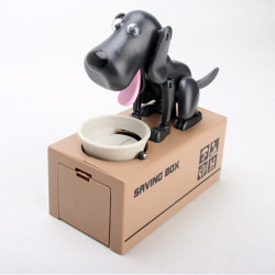 Choken Puppy Hungry Eating Dog Kids Coin Bank Money
