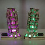 DIY 3D Solar Wooden Puzzle Leaning Tower of Pisa Toy Model Solar Powered Toys