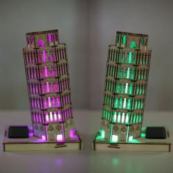 DIY 3D Solar Träpussel Lutande tornet i Pisa Toy Modell