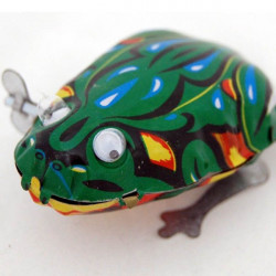 Funny Wind Up Moving Eyes Jumping Frog Toy Clockwork Spring Tin Toy