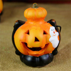 Halloween Dekoration Pumpa LED Color Lights Svart Katt Ghost Witch