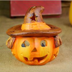 Halloween Dekoration Pumpa Ljus Ljusstake Svart Katt Bat Witch