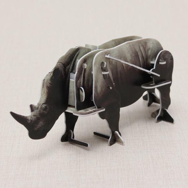 Hopewinning Rhinoceros Wind up Puzzle Tiere 3D DIY pädagogisches Spielzeug Spielzeugmodell & Modellbausätze