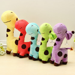 Multicolored Cartoon Plush Giraffe Sika Deer Stuffed Toys Kids Gift