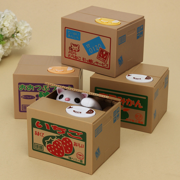 New Year Gift Cute Cat Automated Steal Stealing Money Saving Box Bank Classic & Retro Toys