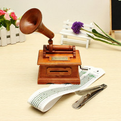 Nostalgic Retro Wooden Hand-Cranked Music Box With Paper Tape
