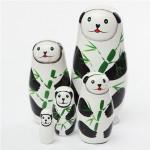 Panda Bear 5 Piece Russian Wood Bygga Bodocka Matryoshka Stacking Dolls Dockor & Gosedjur