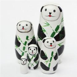 Panda Bjørn 5 Piece Russian Wood Nesting Doll Matryoshka Stacking Dukker
