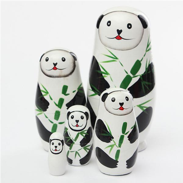 Panda Bjørn 5 Piece Russian Wood Nesting Doll Matryoshka Stacking Dukker Dukker & Tøjdyr
