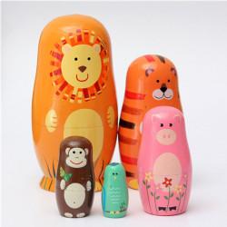 Set von 5 nette hölzerne Schachteln Doll Matroschka Tier russische Puppe