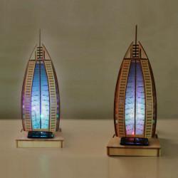 Solar Noctilucous 3D Burj Al Arab Hotel Wooden Puzzle DIY Model