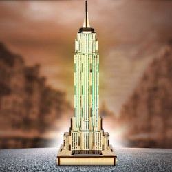 Solar Noctilucous 3D Empire State Building Wooden Puzzle DIY Model