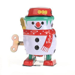 Vintage Wind Up Tin Toy Clockwork Spring Snowman Classic Toy