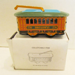 Vintage Wind Up Tin Toy Clockwork Spring Trolley Bus Toy Cable Car Toy