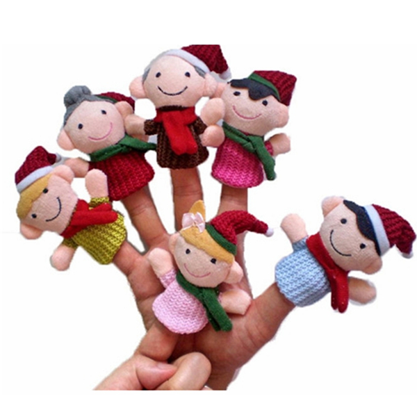 """Christmas family'' Kids Educational toy Finger Puppet Plush Story 6 PCS Dolls & Stuffed Toys"