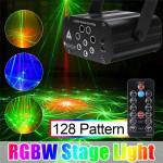 128 Muster Laser Projektor Fernbedienung / Sound Aktiviert LED Disco Licht RGB DJ Party Licht