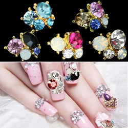 3D Gillter Lilla Hvid Sort Metallic Rhinestones Nail Art Stickers