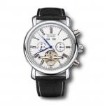 JARAGAR Luxus Skeleton automatische mechanische Leder Mann Armbanduhr Uhren