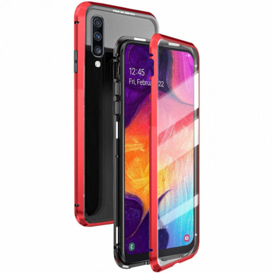 Magnetic Adsorption Metal Bumper & Tempered Glass Cover Case Samsung Galaxy A70 2021