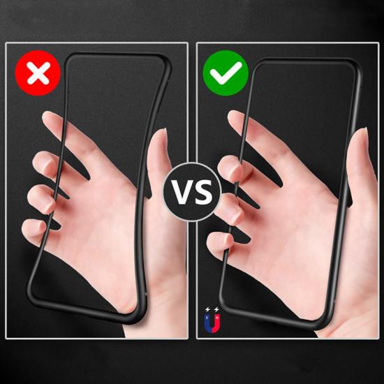 Metal Magnetisk Adsorption Flip Härdat Glas Fodral Samsung Galaxy A71 2021