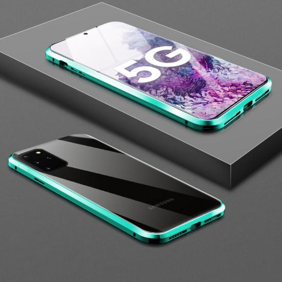 360 Curved Magnetisk Flip 9H Härdat Glas Metal Fodral Samsung Galaxy S20+ / S20 Plus 5G 2021