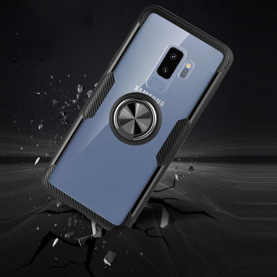 Magnetic 360 Rotation Ring Holder Transparent Glass+TPU Shockproof Cover Samsung Galaxy S20+ Plus 2021