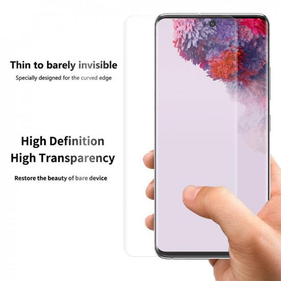 2 i 1 Pure Tunt TPU Skal 3D Curved Edge PET Skärmskydd Samsung Galaxy S20+ / S20 Plus 5G 2021
