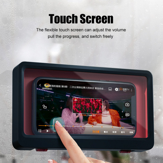 Badrum Mobiltelefon Vattentät Skal Touch Screen Mobil Hållare Skal Storage Box Väggmonterad Hole Free 2021