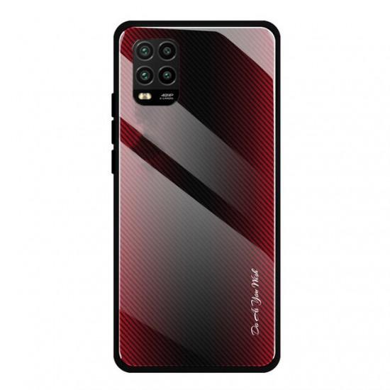 Xiaomi Mi 10 Lite Case Carbon Fiber Gradient Color Shockproof Anti-scratch Tempered Glass Case 2021