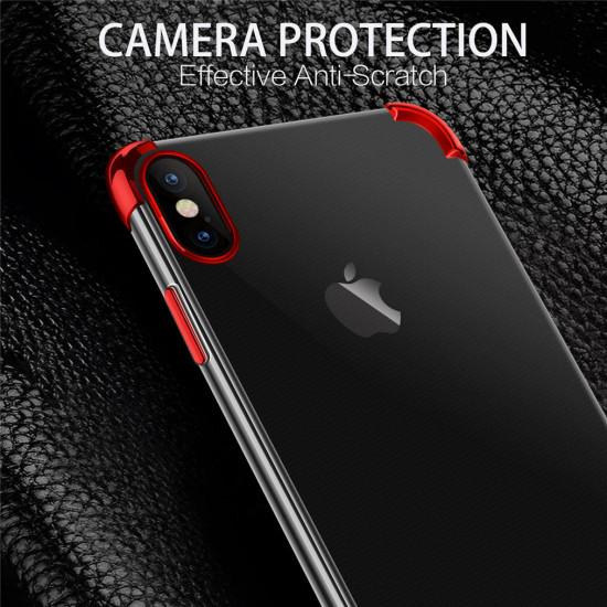 2 in 1 Airbag Plating Kamera Linsenschutz Dünne Stoßfest Transparent Hülle iPhone XS Max 2021