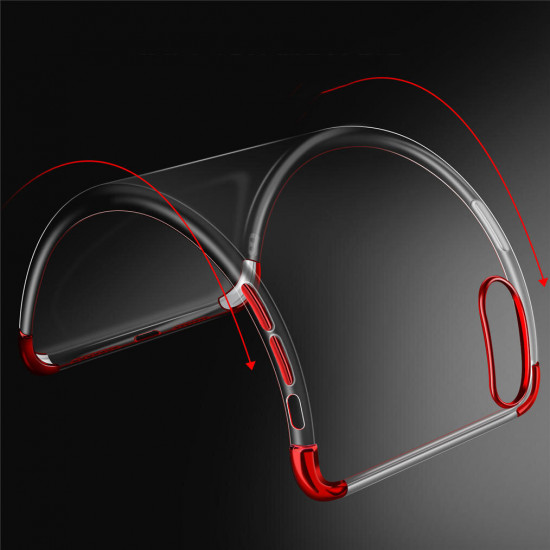 2 in 1 Airbag Plating Kamera Linsenschutz Dünne Stoßfest Transparent Hülle iPhone X / XS 2021