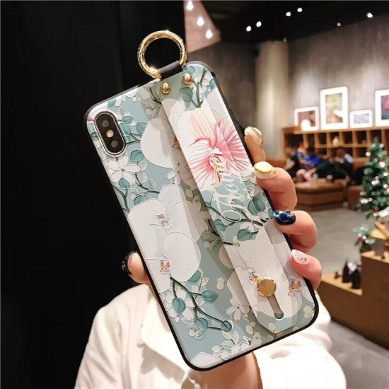 Chinese Style Blume Motiv Embossed Hülle Wristband Holder iPhone 6 / 6S / 6 Plus / 6S Plus / 7 Plus / 8 Plus / XS / X / XR / XS Max 2021