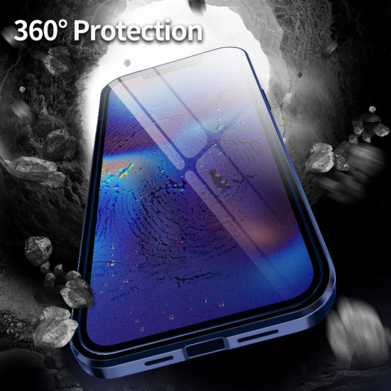 iPhone 12 / 11 Series Hülle Magnet Flip Anti-Peeping Double-Sided 9H Panzerglas Metal Cover 2021