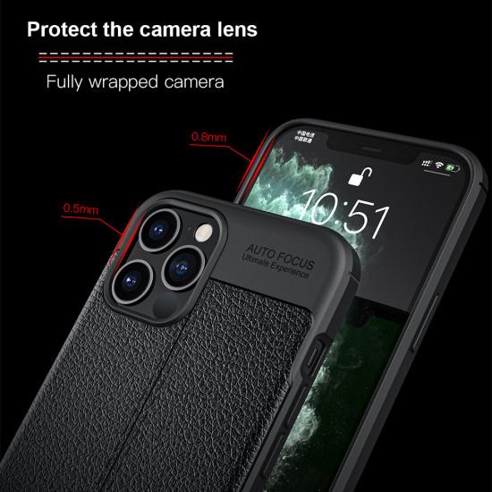 iPhone 12 Pro / 12 Hülle Litchi Motiv Kamera Linsenschutzor Stoßfest PU Leder Hülle Schutzhülle 2021