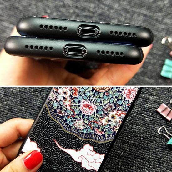 Chinoiserie Auspicious Clouds Pattern 3D Embossed Anti-slip Shockproof Case iPhone X / XS / XR / XS Max / 6 / 7 / 8 / 6S Plus / 6 Plus / 7 Plus / 8 Plus 2021