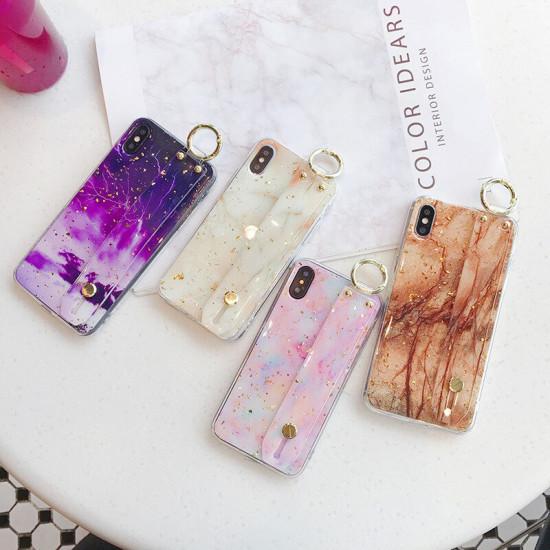 Marble Motiv Wrist Strap Ringhalter Stoßfest Epoxy Hülle iPhone X / XS / XR / XS MAX / 6 / 6S / 6 Plus / 6S Plus / 7 / 8 / 7 Plus / 8 Plus 2021